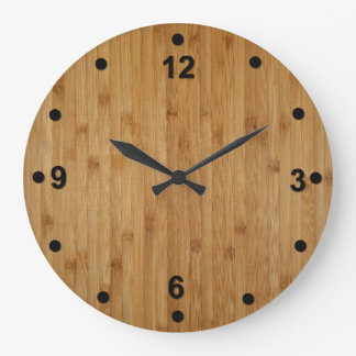 Rustic Bamboo Wood Look Clock