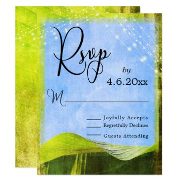 Beach Themed Rustic Banana Leaf & Lights Boho Wedding RSVP Card