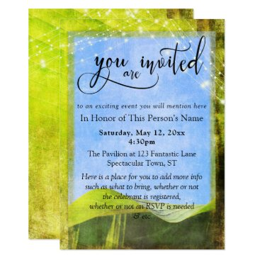 Beach Themed Rustic Banana Leaf & Lights General Party & Event Card