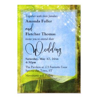 Rustic Banana Leaf w/ Lights Destination Wedding Card