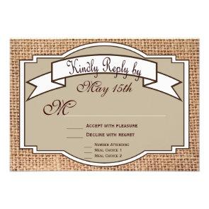 Rustic Banner Burlap Print Wedding RSVP Cards