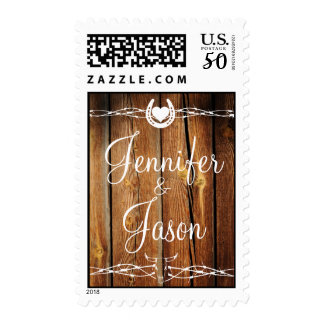Rustic Barbed Wire Horseshoe Country Wedding Stamp