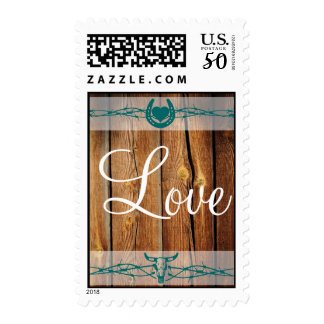 Rustic Barbed Wire Horseshoe LOVE Wedding Stamps