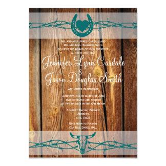 Rustic Barbed Wire Horseshoe Wedding Invitations