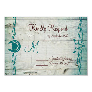 Rustic Barbed Wire Horseshoe Wedding RSVP Cards