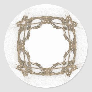 Rustic Barbed Wire Look Fractal Art Classic Round Sticker