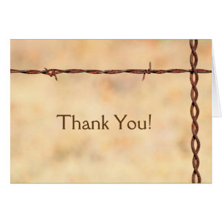 Rustic Barbed Wire Thank You Card