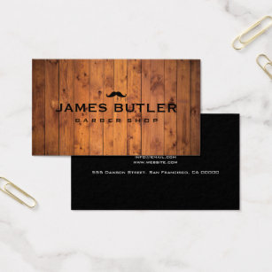 Barber shop business cards templates zazzle rustic barber shop wood business card wajeb Image collections