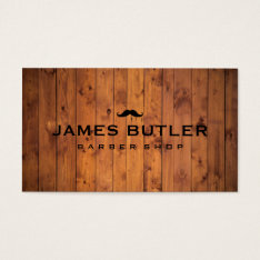 Rustic Barber Shop Wood Business Card at Zazzle