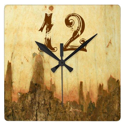 Rustic Bark Texture Western Clock