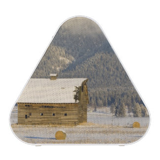 Rustic barn and hay bales after a fresh snow 2 speaker