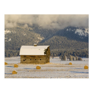 Rustic barn and hay bales after a fresh snow 2 postcard