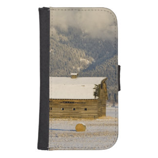 Rustic barn and hay bales after a fresh snow 2 wallet phone case for samsung galaxy s4