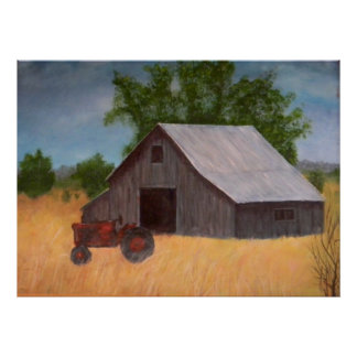 Rustic Barn and Tractor Poster