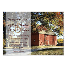 Rustic Barn and Trees Country Wedding Invitation 4.5