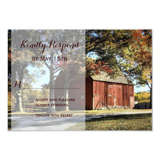 Rustic Barn and Trees Country Wedding RSVP Cards
