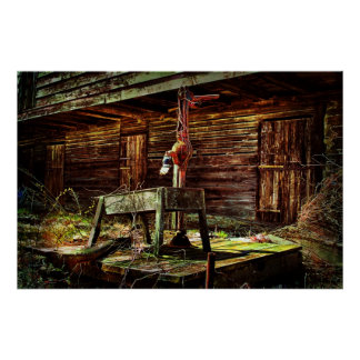 Rustic Barn and Water Pump Posters