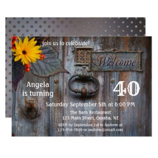 Rustic Barn Autumn Birthday Party Invitation