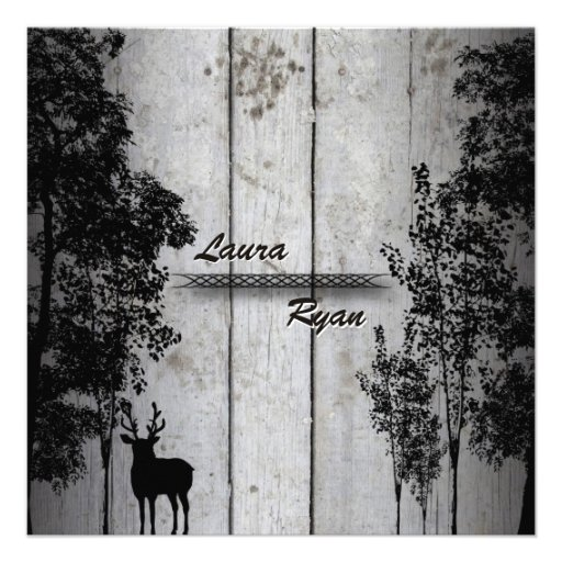 Rustic Barn Board Deer & Tree Wedding Invitation