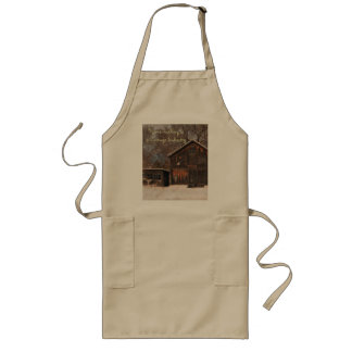Rustic Barn & Cottage Vintage Snow Scene Long Apron