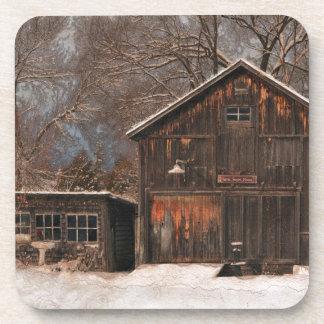Rustic Barn & Cottage Vintage Snow Scene Beverage Coaster