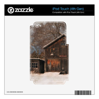 Rustic Barn & Cottage Vintage Snow Scene iPod Touch 4G Decals