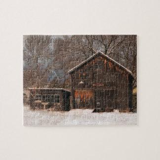 Rustic Barn & Cottage Vintage Snow Scene Jigsaw Puzzle