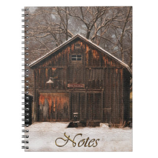 Rustic Barn & Cottage Vintage Snow Scene Notebook