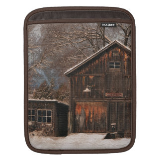 Rustic Barn & Cottage Vintage Snow Scene Sleeve For iPads
