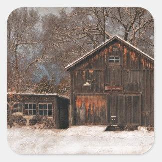 Rustic Barn & Cottage Vintage Snow Scene Square Sticker