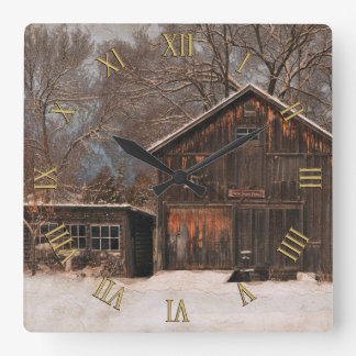 Rustic Barn & Cottage Vintage Snow Scene Square Wall Clock