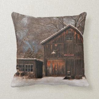 Rustic Barn & Cottage Vintage Snow Scene Throw Pillows
