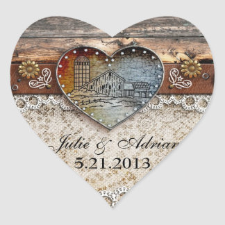 Rustic Barn Country  Heart Sticker