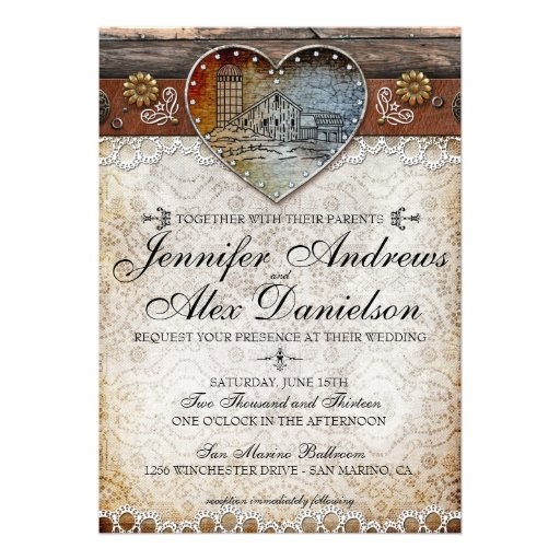 Rustic Barn Country Wedding Invitation