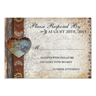 Rustic Barn Country Wedding RSVP 3.5x5 Paper Invitation Card