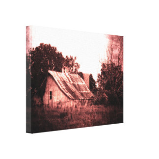 Rustic Barn, Crimson Grunge, Ethereal, Spooky Canvas Print