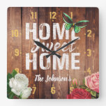 "Rustic barn dark wood ""Home Sweet Home"" design, Square Wall Clock"