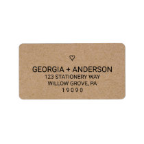 Rustic Barn Faux Kraft Paper Modern Heart Wedding Label