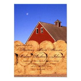 Rustic Barn Hay Bales Country Wedding Invitations 4.5