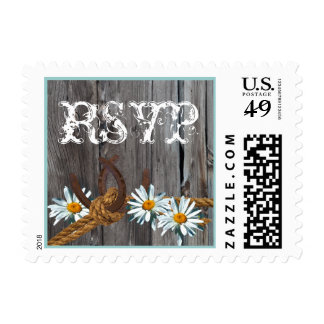 Rustic Barn Horseshoes and Daisies Postage Stamp