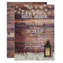 Rustic Barn Lantern String Lights Bridal Shower Card