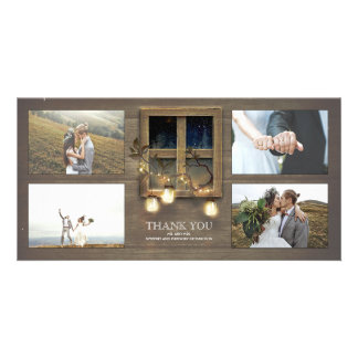 Rustic Barn Mason Jar Lights Wedding Thank You Card