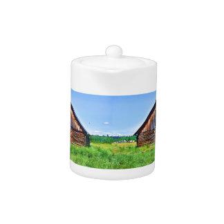 Rustic Barn on Cattle Ranch Art Teapot