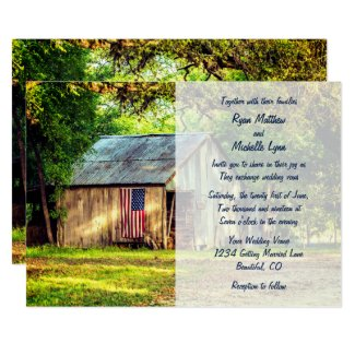 rustic barn american flag wedding invitations unique affordable
