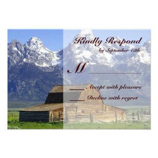 Rustic Barn Rocky Mountain Wedding RSVP Cards