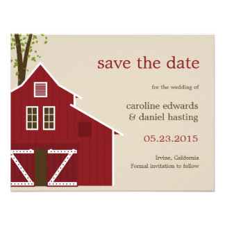 Rustic Barn Save The Date Card Personalized Announcement
