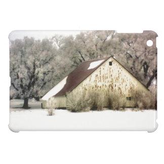 Rustic Barn Snow Scene Winter Landscape iPad Mini Cover