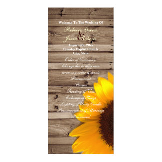 rustic barn sunflower country wedding programs
