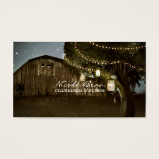 Rustic Barn & Tree String Lights Business Cards