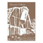 "Rustic Barn Wedding Invitation - Brown 5"" X 7"" Invitation Card"